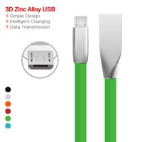 Wholesale Factory Transmissions - Factory Zinc Alloy Metal USB Cable Micro Fast Sync Strong For Samsung S6 7 Noodle Data Transmission Charging Cord Data Cable