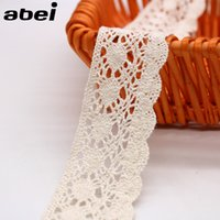 Wholesale Fabric Embellishments Lace - 20yards lot 4cm Beige Sewing Lace Trims Tabelcover Curtain Sweater Wrap Embellishment DIY Handmade Cotton Fabric Material