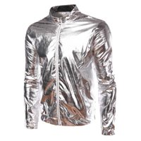 Wholesale Night Club Wear Men - Wholesale- Spring Autumn Fashion Mens Silver Jacket Coated Metallic Gold Silver Hip Hop Jackets For Men Night Club Wear Shiny Jacket Q2019