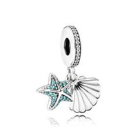 Wholesale Jewelry Made Seashells - 2017 Summer New 925 Sterling Silver Tropical Starfish and Seashell Pendant Charm Fit Original Bracelet Diy Jewelry Making Gift