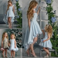 Wholesale Graduation Bow Ties - Adorable Short Length Flower Girl Dresses Applique Sleeveless Pageant Gown With Bow Tie Pearl First Communication Dress For girl