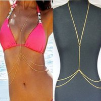 Barato Corrente Da Barriga Do Ouro Colares-Womens Sexy Fashion Gold Body Belly Waist Chains férias de verão Bohemian Bikini Beach Harness Necklace jóias presentes acessórios de moda