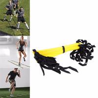 naylon ayak ayakları toptan satış-12 Rung 18 Ayaklar 6 m Çeviklik Merdiven Futbol Eğitimi Merdiven Futbol Hız Eğitim Spor Vücut Geliştirme için Dayanıklı Naylon Sapanlar