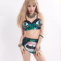 Wholesale Big Cup Bra Sets - Hot Nightclub Limited Edition Big Eyes Lips Sequined Womens Bras Sets Super Special Underwear Swimsuit Suit DS Exclusive Sale Green