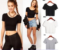 Wholesale Basic Tee Crop Top - Wholesale-E116 Basic Stretch Women Sexy Crop Top Girl Short Sleeve T Shirt Tee Black White Grey Vest Camisole Regata Feminina