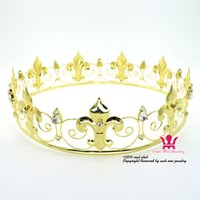 Wholesale Crowns Tiara S - Wah Mei Full Circle Gold Plated Prom Accessories Queen King Men's women`s Crown Round Imperial Medieval Prince princess 00011
