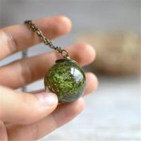 ingrosso orbite terrarium-10 pz reale Dandelion Collana fiore reale sfera di vetro Orb Sfera terrario desiderio gioielli tono bronzo