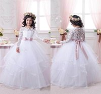 Wholesale Christmas Wedding Dress For Sale - 2017 White Flower Girl Dresses for Weddings Long Lace Sleeve Girls Pageant Dresses First Communion Dress Little Girls Ball Gowns Hot Sale