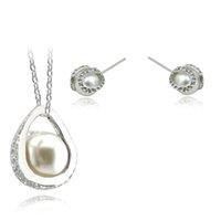 Wholesale Black Freshwater Pearl Jewellery - Black Friday Sales silver plated freshwater Pearl Jewelry Sets For Women Crystal Bridal Jewellery Set Wedding Bijoux 2017