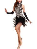 trajes de baile para mujer al por mayor-Mujeres rugiendo 20 s 1920S Art Deco lentejuelas Paisley Gran Gatsby Flapper Dance Girl borla Glam Party Dress Costume Pattern Style