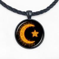 Wholesale Islamic Necklaces - Wholesale Glass Dome cabochon new fashion crescent necklace islam diy jewelry islamic amulet religion pendant