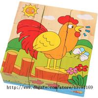 çocuk oyuncakları için çiftlik hayvanları toptan satış-Ahşap Bulmaca Erken Eğitim Yapı Taşları Çiftlik Hayvanları DIY Yapboz Oyuncaklar Çocuk Çocuk Bebek için 9 Küp