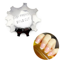 Wholesale French Cutter Tool Nails - DIY Design Easy French Metal Nail Smile Line Edge Cutter Trimmer False Nail Forms Manicure Tool Nail Art Styling Tool 11 Sizes ZA2694