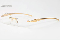 Wholesale Mens Eyeglass Frames Square - 2017 brand sunglasses cat eye buffalo horn glasses gold silver frames eyeglasses clear lenses vintage mens designer sunglasses with case