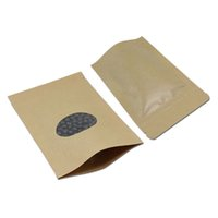 Wholesale valve windows - 100Pcs  Lot 15*22cm Stand Up Ziplock Kraft Paper Packaging Bag Heat Seal Doypack Valve Pack Pouch Food With Clear Window