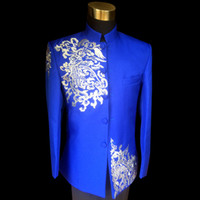 Wholesale Mens Embroidered Wedding Suits - Plus Size Vintage Mens Blue Clouds Embroidered Stand Collar Tuxedo Suit Wedding Stage Performance Blazers Suit