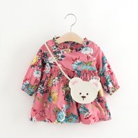 Wholesale Little Girls Spring Clothing Wholesale - Lovely Girls Large Flower Dresses 2017 Fall Kids Boutique Clothing Children Apparel 1-4T Little Girls Long Sleeves Dresses with Bag