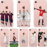 Wholesale Football Cases - For iPhone 5 5S SE 6 6S 7 7 PLUS Football Superstar Winner Messi Ronaldo Rooney Ultra Thin Football Clear Phone Cases Coque
