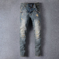 Wholesale Style Denim Pants - European American Style 2017 famous brand mens jeans luxury men denim trousers Slim Straight Patchwork blue hole jeans pants