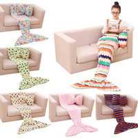 Wholesale Wholesale Fabric For Baby Bedding - Kids Mermaid Children Sleeping Bag Baby Soft Mermaid Tail Blanket For Nap Sofa Bedding Living Room Bedroom Blankets E3 50pcs