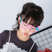 Wholesale Yellow Full Frame Spectacles - 2017 N ew Cute Chic Cartoon Kid Children Girls Rabbit Ear Bowknot Glasses Spectacle Frame Free DHL