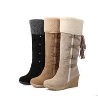 Wholesale Canvas Slip Resistant Shoes - Winter Fashion Scrub Snow Boots Wedges Knee-high Slip-resistant Boots Thermal Female Cotton-padded Shoes Warm Plush Shoes