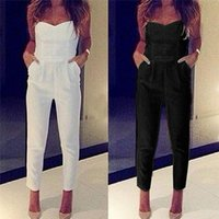 Wholesale Wholesale Womens Overalls - Wholesale- Womens Jumpsuit Sexy High Waist Slim Solid Pocket Long Jumpsuits Overalls Pant White Black 2016 Strapless Jumpsuit Rompers