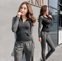 Wholesale Bra Pants Sets - Hot Sale Woman Tracksuit Three Piece Set Top +Bra+Pants Female Set Women Set Sportswear Long Sleeve Fitness Suit