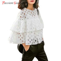 Wholesale Ladies Ruffled Lace Blouses - 2016 Summer Plus Size Women Short Blouses Shirts o neck 3 4 sleeve lace hollow out loose ruffles blouse ladies tops White Black