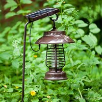 Wholesale Electronic Fly Killers - Waterproof Solar LED electric Mosquito Killer Lamp anti Fly Bug Zapper Insect repeller pest reject electronics trap Mosquito Killer Lamps