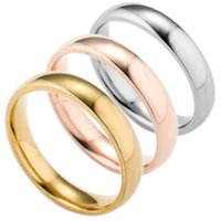 Wholesale Pure Gold Rings Men - 18K Rose Gold Wedding Rings Pure Color Silver Engagement Ring High Polishing Gold Midi Ring For Men Women Couple