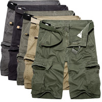 Wholesale Green Cargo Shorts - Wholesale- 2017 Mens Cargo Shorts Summer Style army green Overalls male Loose Multi-Pocket Shorts big pockets decoration Casual trousers 40