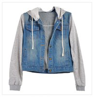 Wholesale Denim Drawstring Jacket Women - Wholesale- FANALA Autumn Winter Women Jacket Female Clothing 2017 Blue Jeans Hooded Long Sleeve Denim Coat Drawstring Plus size Outerwear