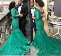 Wholesale Vintage Green Dresses - 2017 Hunter Green Arabic Lace Mermaid Evening Dresses V-neck Vestidos De Fiesta Long Sleeves Dubai Vintage Prom Dresses with Sweep Train