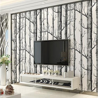 ingrosso carta da parati nera-Black White Birch Tree Wallpaper per Camera da letto Modern Design Living Room Wall Rotolo di carta Rustic Forest Woods Wallpapers