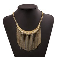 2017 Gold Silver Color Metal Tassel Statement Necklace para Mulheres Colar Vintage Pendant Rhinestone Party Jewelry Accessory Wholesale