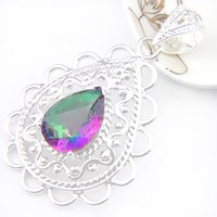 Wholesale Triangle Gem - Half Dozen 6Pc lot Crystal Cut triangle Mystic Topaz Gems 925 Sterling Silver USA Israel Wedding Engagement Pendants Weddings Jewelry p1159