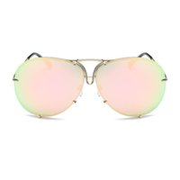 Wholesale Sexy Pilot - Rimless Gold Pink Men Women 2017 Brand Designer Aviator Clear Sunglasses Big Frame Sexy Sun Glasses Oversize Lunette Femme Shades Luxury