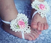 Wholesale Toddler Anklets - 3pcs set free shipping Newborn Infant Baby Butterfly Headband girls Toddler Bare foot Flower Hair band Children anklet accessories SEN066