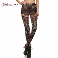 Wholesale COLOURSTONE NEW Women Pant Legins Steampunk Gothic Comic Cosplay Trousers Sexy high waist leggings punk rock jeggings Pants Famme