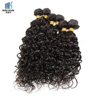 Wholesale Wholesale For Brazilian Human Hair - 6 Pcs Water Wave Brazilian Curly Virgin Human Hair Weave Bundles with a Small Closure Ocean Wave for Short Bob Style