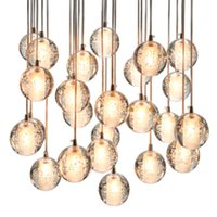 Wholesale Meteors Magic - 3-56 Balls Dimmable LED Meteor Bubble Crystal Pendant Lights Round   Square   Rectangle Base LED Magic Chandeliers Pendant Lamps