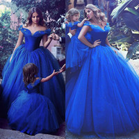 Wholesale Decoration Butterfly Hot Pink - Attractive Tulle Off-the-shoulder Neckline Ball Gown Formal Dresses With Hot Fix Rhinestone Royal Blue Prom Gowns with butterfly decoration
