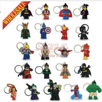 Wholesale Wholesale Batman Action Figures - DHL 100pcs lot Mix 21 styles super hero Hulk Batman keychains Key ring Action Figure Kids toy Key Chain Pendant Hanging Accessories