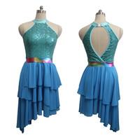 Wholesale Latin Stage Sequin Dancewear - River Blue Sequin Dress Latin Party Modern Dance Turtle-neck Chiffon Irregular Dancewear Girls Stage Performance Costume