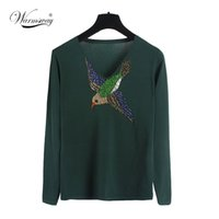 Wholesale Sweater Birds - Wholesale-HIGH QUALITY Newest Fashion 2016 Runway Women's Long Sleeve Luxury Beading Bird Embroidery Vintage Pullover Sweater WS-094