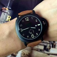 Wholesale Designer Leather Wrist Watch - 2017 Luxury Mens Women Brown Tachymeter Date Leather strap Sport Quartz Wrist Watch High quality designer roles watch wholesale