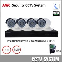 Wholesale Installing Security Cameras - HIK 3MP H.265 Security CCTV System NVR DS-7808N-K2 8P & IP camera DS-2CD2035-I Kit support P2P Ezviz remote view Easy to install