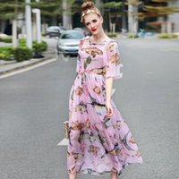 Summer Runway Designer Fashion Dress Femme de haute qualité à moitié manche Cute Pink Fish imprimé Sequins Mid Calf Silk Resort Robes YA1