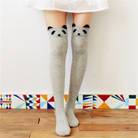 Cotton black bear socks - Pair Women Female Spring D Cartoon Animal Bear Face Pattern Thigh Stockings Stylish Over Knee High Socks